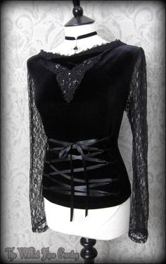 Black Velvet Lace Applique Corset Style Top 16 Gothic Glamour Vampire Romance | THE WILTED ROSE GARDEN