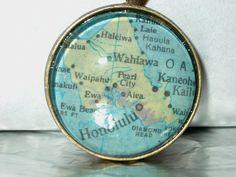 Upcycled Atlas Pendant  City map of Honolulu by HoneysuckleSalvage, $30.00