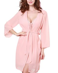 Women's Gauze Satin Robe Set Sling Lace Nightdress Bathrobe Set Lightcoral Size L. For a hint of drama and nighttime glamour slip on this soft, silky wrap. Wide sleeves and a robe shape make it the perfect addition to your lingerie wardrobe. An after-dark delight, this slip entices in dreamy satin and delicate, supersoft lace. A side slit adds a hint of sexy to this late-night lingerie favorite. Can well bring out your beautiful body, outlining the slender leg lines and good hip. With...