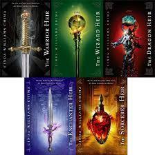 The Heir Chronicles by Cinda Williams Chima.  The Warrior Heir, The Wizard Heir, The Dragon Hair, The Enchanter Heir and The Sorcerer Heir.