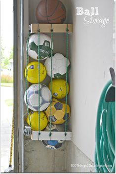 Ball storage...where have you been all my life? http://dukesandduchesses.com/2014/01/10-quick-and-easy-organization-tips?utm_content=bufferdd2d8&utm_medium=social&utm_source=pinterest.com&utm_campaign=buffer