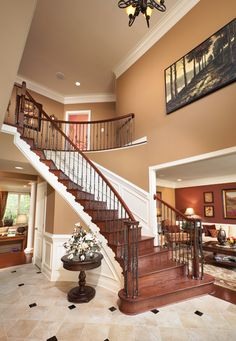Toll Brothers - Elegant Chelsea Foyer with Oak Curved Staircase