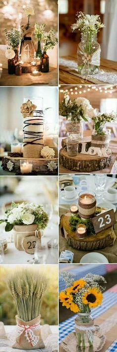 beautiful rustic wedding centerpieces, decorated with sack .- schöne rustikale Hochzeits-Mittelstücke, dekoriert mit Sackleinen – Holz Tisch DIY beautiful rustic wedding centerpieces, decorated with burlap, - Trendy Wedding, Fall Wedding, Diy Wedding, Wedding Flowers, Dream Wedding, Wedding Ideas, Wedding Rustic, Wedding Vintage, Party Wedding