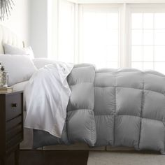 king size luxury designer comforter in solid platinum silver grey color