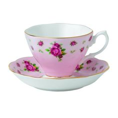 Royal Albert New Country Pink Roses Tee Tasse und Sauce Vintage Box, mehrfarbig