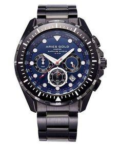 Aries Gold Inspire Atlantic Chronograph Quartz G 7002 BK-BU Men's Watch - ZetaWatches Rolex Watches For Men, Luxury Watches For Men, Gold Watches, Rolex Oyster Perpetual, Vintage Rolex, Rolex Submariner, Rolex Gmt Master, Rolex Daytona Stainless Steel, Tissot Mens Watch