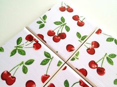 Cherries Ceramic Tile Coasters Vintage Drink Set by QueenOfDeTile