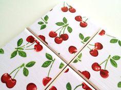 Cherries Ceramic Tile Coasters Vintage Drink Set by QueenOfDeTile