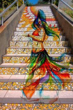graffiti mural Knitting Graffiti by Masquerade: Stockholm, Sweden. mural on stairs 3d Street Art, Street Art Graffiti, Graffiti Artwork, Graffiti Artists, Graffiti Lettering, Street Artists, Mosaic Stairs, Tile Stairs, Sidewalk Art