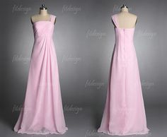pink prom dress long prom dress one shoulder prom by fitdesign, $116.00