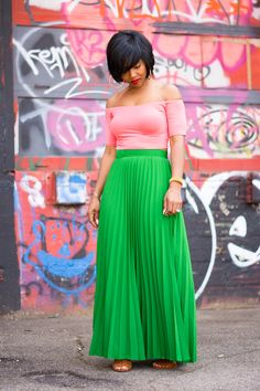 Sweenee Style, Indianapolis Style Blog, Pleated Skirt, Off shoulder top, Green Pleated Skirt, Spring outfit idea