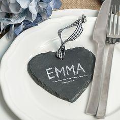 Schieferntafelherz zum selber beschriften als Platzkarte und Gastgeschenk zur Hochzeit.