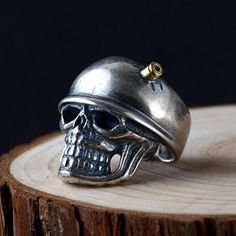 Men's Sterling Silver Bullet Skull Ring Large Skull with Sterling Silver Cross, Sterling Silver Jewelry, Mens Silver Jewelry, Gothic Jewelry, Biker Rings, Silver Bullet, Silver Dragon, Silver Man, Rings For Men