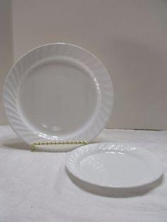 """Corelle White Swirl Dinner Plate 10"""" & 7"""" Bread & Butter Plate (715-2) #Corelle Vintage Kitchenware, Bread N Butter, Pie Dish, Dinner Plates, Tableware, Ebay, Dinnerware, Tablewares, Dishes"""