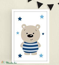 Kék csillagos macis keretezett falikép / babaszoba dekoráció 20x30 cm-es méretben, Baba-mama-gyerek, Baba-mama kellék, Gyerekszoba, Baba falikép, Fotó, grafika, rajz, illusztráció, Meska