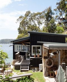 my scandinavian home: Dreamy Holiday Let: A Cosy Waterside Eco Cabin In Australia Eco Cabin, Lakeside Cabin, Summer Cabins, Log Fires, Cottage Exterior, Beach Shack, Cabins And Cottages, Lake Cabins, The Design Files
