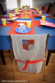 Medieval Tournament of Knights Table Setting and Costume, Mike the Knight Kid Birthday Party