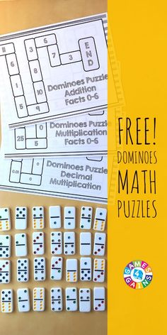 Use Basic Facts to Solve These Dominoes Math Puzzles! These FREE dominoes math puzzles are perfect for practicing addition facts, multiplication facts, and decimal division! Kindergarten Math Games, Math Tutor, Math Classroom, Teaching Math, Math Activities, Teaching Ideas, Classroom Ideas, Preschool, Teaching Resources