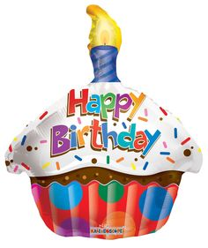 "18"" B'day Cupcake w/ Candle Foil Balloon"