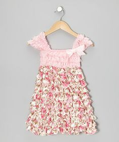Loving this Pink Floral Ruffle Cap-Sleeve Dress - Infant, Toddler & Girls on #zulily! #zulilyfinds