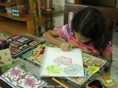 kid art leaf journaling