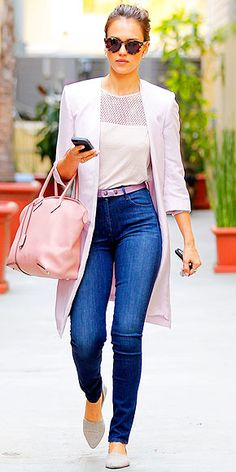 Jessica Alba wearing high-waisted denim with pink separates