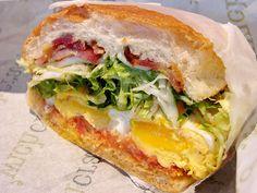Fried Egg, Bacon and Gorgonzola Sandwich.  YUM!