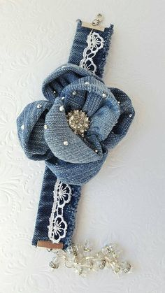 Overview: * Handmade by AngelM * Ready to ship today! * Made in my smoke free home This beautiful recycled denim bracelet Denim Bracelet, Denim Earrings, Bracelet Crafts, Jewelry Crafts, Jean Crafts, Denim Crafts, Faceted Glass, Glass Beads, Denim Ideas