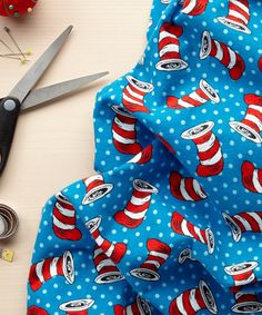This Blue Dr. Seuss Hat Flannel Fabric is perfect! #zulilyfinds Tons of other styles too!