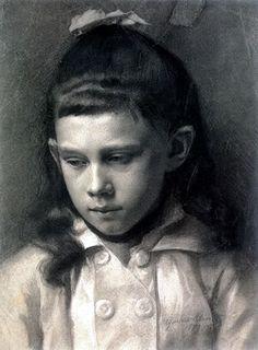 Gustav Klimt | Kopfstudie eines Mädchens, nach links geneigt 1879 Portrait of a Girl, Head Slightly Turned Left