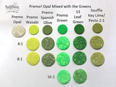 NCT Aug Opal mixed with greens ~ Polymer Clay Color Mix Polymer Clay Recipe, Polymer Clay Tools, Sculpey Clay, Polymer Beads, Polymer Clay Jewelry, Color Blending, Color Mixing, Green Opal, Clay Food