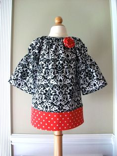 Girls Christmas dress Black and White Damask with by maryandlucy, $30.00   love this for chesney