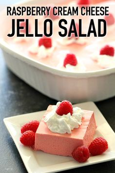 Raspberry Cream Cheese Jello Salad Six Sisters Stuff This creamy and smooth Raspberry Cream Cheese Jello Salad recipe is one that everyone loves It s perfect for a holiday dessert that can be made ahead of time Serve with fresh raspberries and enjoy Jello Deserts, Köstliche Desserts, Holiday Desserts, Delicious Desserts, Jello Dessert Recipes, Recipes With Jello, Recipe For Jello Salad, Fluff Desserts, Pudding Recipes