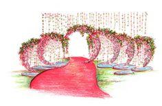Floral decor sketch by Yuna Weddings at the weddding venue entrance