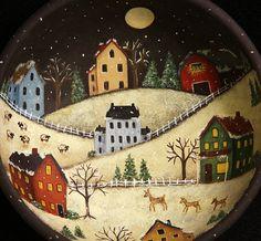 Folk Art Winter Original Scene Hand Painted on Primitive Wood Primitive Painting, Primitive Folk Art, Primitive Crafts, Tole Decorative Paintings, Tole Painting, Christmas Paintings, Christmas Art, Folk Art Flowers, Winter Art