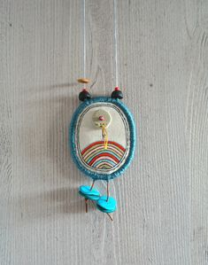 Fabric Necklace / Hand drawn necklace with Polymer clay beads and felt / textile pendant / fabric jewelry / textile jewelry, painted pendant