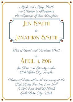 lds wedding invitation invite invites color invitation wedding latter day saints