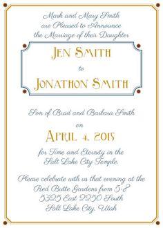 lds wedding invitation invite invites color invitation wedding