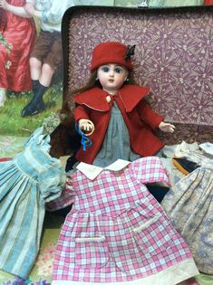 Sweet Premier Bleuette size 2 Jumeau with trousseau. : My French Treasure Sewing Doll Clothes, Sewing Dolls, Girl Doll Clothes, Girl Dolls, Old Dolls, Antique Dolls, Nursing Clothes, Bisque Doll, French Antiques