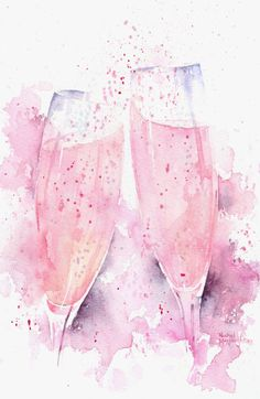 Rachel Mcnaughton. Pink Champagne Clink. Foodie illustration on ArtLuxe Designs. #artluxedesigns food style