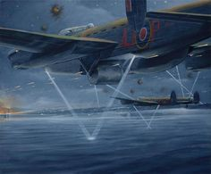 """Operation Chastise when in 1943 the thrid wave of the RAF's 617 Squadron attacked the Möhne, Eder and Sorpe dams in Germany with Barnes Wallis's """"bouncing bomb"""" dropped from Lancaster III bombers. Ww2 Aircraft, Military Aircraft, Military Art, Military History, Lancaster Bomber, Aircraft Painting, Airplane Art, Ww2 Planes, Royal Air Force"""