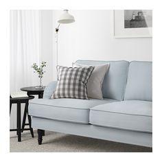 STOCKSUND Sofa, Remvallen blue/white, black/wood Remvallen blue/white black