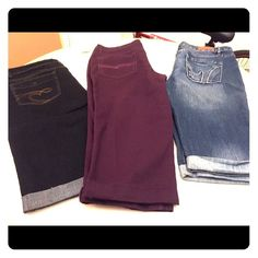 Jeans! I have long also mix and match! Blue cuffed knee length P&P Jeans new never worn but no tags. Size 17/18  95%cotton 5% spandex. Dark denim Puzzle jeans also cuffed knee length  new with tags and a gorgeous color purple also knee length Faded Glory size 16  98% cotton and 2% spandex new never worn! Jeans Ankle & Cropped