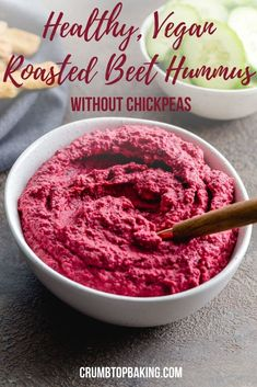 Roasted Beet Hummus with White Beans is an ultra thick and creamy vegan hummus with nourishing beets beans and kale. It's made without chickpeas has a spicy Thai chili kick and works well as a dip or spread. Healthy Chips, Healthy Work Snacks, Quick Snacks, Healthy Foods, Healthy Recipes, Dairy Free Recipes, Veggie Recipes, Snack Recipes, Clean Recipes