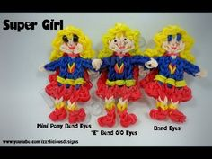 ▶ Rainbow Loom SUPERGIRL Figure. Designed and loomed by Kate Schultz of Izzalicious Designs. Click photo for YouTube tutorial. 04/15/14.