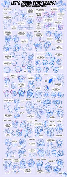 Let's Draw: Pony Heads! Tutorial #1 by SorcerusHorserus.deviantart.com on @DeviantArt