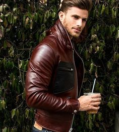 Brown leather jacket. | davidshadpour.com