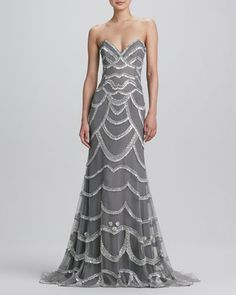 Beaded Strapless Gown by Naeem Khan