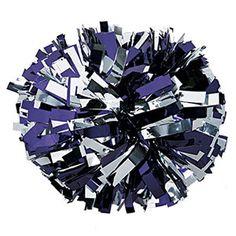 Metallic Purple & Silver Baton Handle Pom by Cheerleading Company