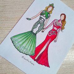 Starbucks & coca-cola (Fashion by JoeslleyRocha App Drawings, Kawaii Drawings, Disney Drawings, Cute Drawings, Drawing Sketches, Amazing Drawings, Amazing Art, Fashion Design Drawings, Fashion Sketches